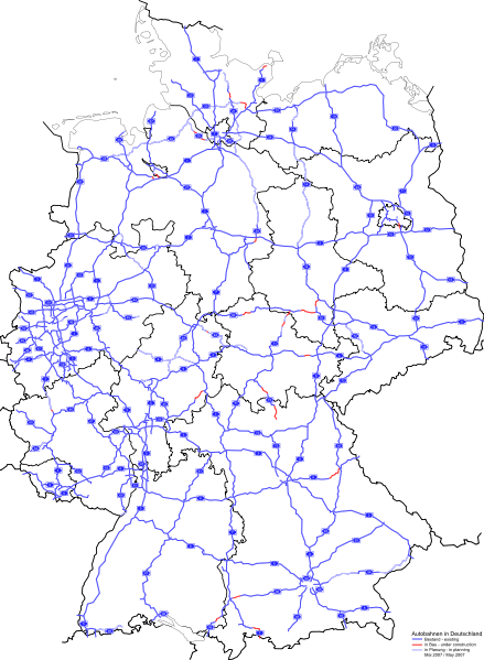 Map of current Autobahn network