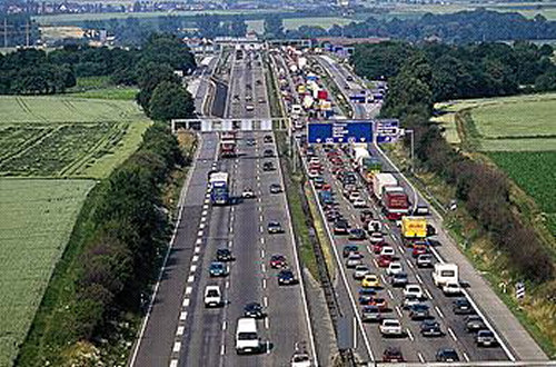 Typical Autobahn traffic on weekends and holidays
